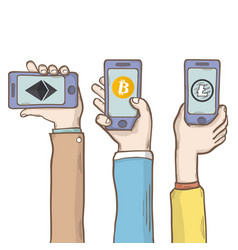 Hand with phone and cryptocurrencybitcoin vector