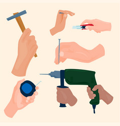 hands with construction tools cartoon style vector image