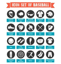 Icons Baseball with titles vector image