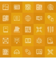 Internet education line icons vector