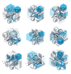 Isometric abstract backgrounds with lines and vector