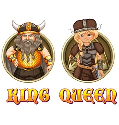 King and queen of vikings vector