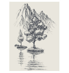 Lake in the mountains trees reflections vector