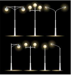 Lanterns street set night vector