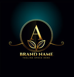 Letter a luxury logo concept with golden leaves vector