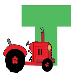 Letter T With A Tractor vector image vector image