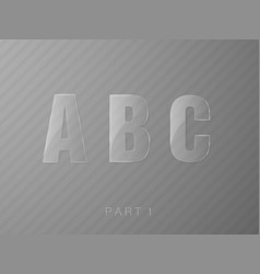 Letters made of glass transparent classic font vector