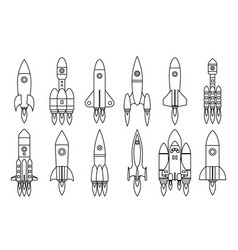lineart space rocket start up launch symbol vector image