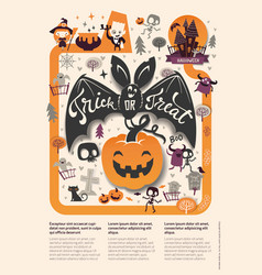 lovely holiday happy halloween flyer template with vector image