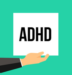 Man showing paper adhd text vector