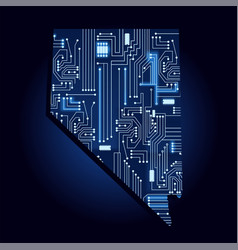 Map nevada with electronic circuit vector
