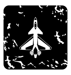 Military aircraft icon grunge style vector