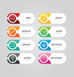 Modern banner button with social icon design vector image
