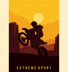 Motocross design poster silhouette sun vector