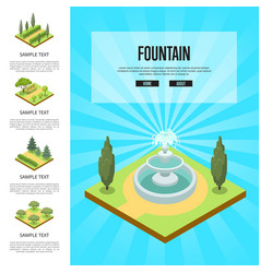 Natural parkland landscape with fountain vector