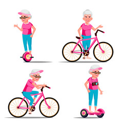 Old woman riding hoverboard bicycle city vector
