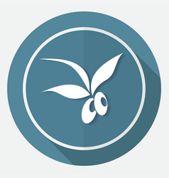 Olive icon on white circle with a long shadow vector