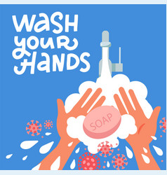 pair hands washing using soap and bubbles vector image