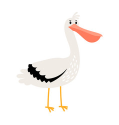 Pelican cartoon bird icon vector
