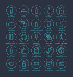 Plastic packaging disposable tableware line icons vector