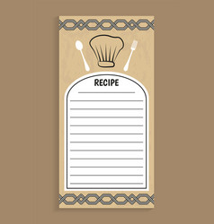 recipe note and knife fork vector image