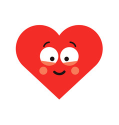 red happy smiling heart vector image