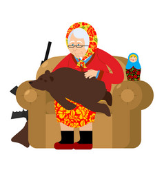 Russian grandmother and bear are your pets old vector