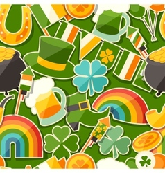 Saint patricks day seamless pattern with stickers vector