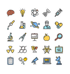 Science research color flat thin line icon set vector