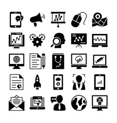seo and marketing solid icons 4 vector image
