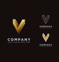Set elegant luxury minimalist letter v logo vector