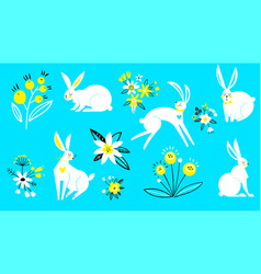 set hares in a flat style white rabbits on a vector image