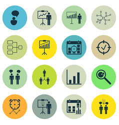 set of 16 executive icons includes opinion vector image