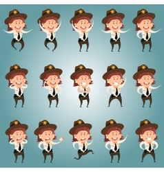Set of Sheriffe women flat icons vector image