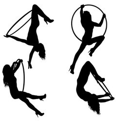set silhouette woman doing some acrobatic elements vector image