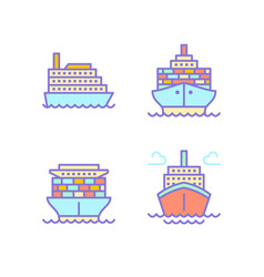 ships flat line icons cargo shipping tanker sea vector image