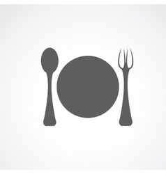 Silhouette of plate fork and spoon vector image