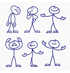Simple hand drawn stick figures set vector
