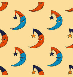Sleepy moon seamless pattern vector
