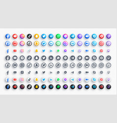 Social media networks and messengers 3d color vector