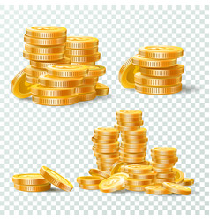 Stack of gold coins golden coin pile money vector
