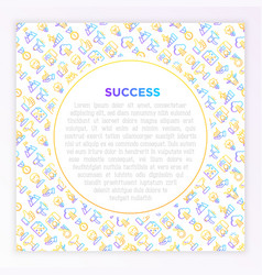 Success concept with thin line icons vector