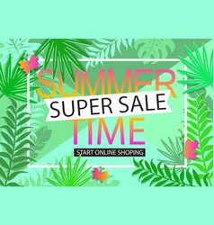 Summer sale jungle background vector
