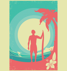 Surfer and sea waves tropical island poster vector