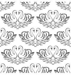 swan pair seamless pattern vector image