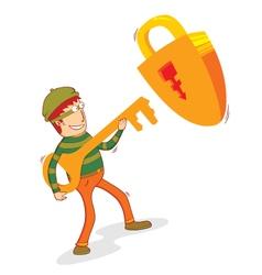 thief and padlock vector image