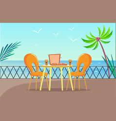 Tropical pizzeria table at balcony with sea view vector