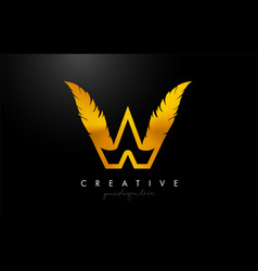 W golden gold feather letter logo icon design vector