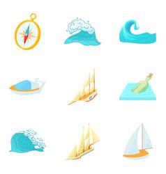 Water pleasure icons set cartoon style vector