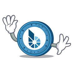 waving bitshares coin character cartoon vector image vector image
